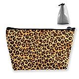 Trousse à maquillage portable avec imprimé léopard pour femmes et filles