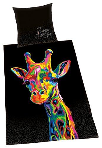 Herding BUREAU ARTISTIQUE Bettwäsche-Set Giraffe, Wendemotiv, Bettbezug 135 x 200 cm, Kopfkissenbezug 80 x 80 cm, Baumwolle/Satin