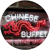 Chinese Buffet Dragon Display Dual Color LED看板 ネオンプレート サイン 標識 白色 + 赤色 600 x 400mm st6s64-i3095-wr