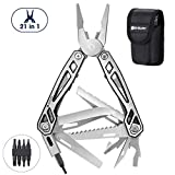 Holo Uila Hana Nui, 21 i 1 Foldable Multitools Stainless Steel, Multifunctional Pliers me nā Botry Opener, Screwdriver, Saw, Maha Mea Paʻi No Ka Paʻewa, Hoʻopau - Black Edge