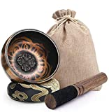 "PACKAGE INCLUDED - 3.3"" Handmade Meditation Bowl x 1, Hand-sewn Silk Cushion x 1, Mallet covered with leather x 1, creamy white storage bag x 1.A full set of Tibetan Meditation Yoga Singing Bowl with decent price. Our singing bowl can fit in your han..."