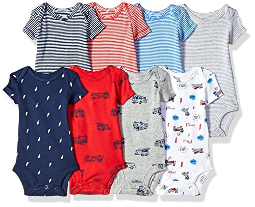 Carter's Baby Boys' 8-Pack Short-Sleeve Bodysuits, Transportation/Dog, 6 Months