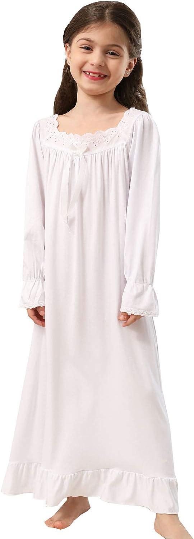 Girls' Princess Lace Nightgown Long Sleeve Cotton Sleepwear Dress 3-12Years