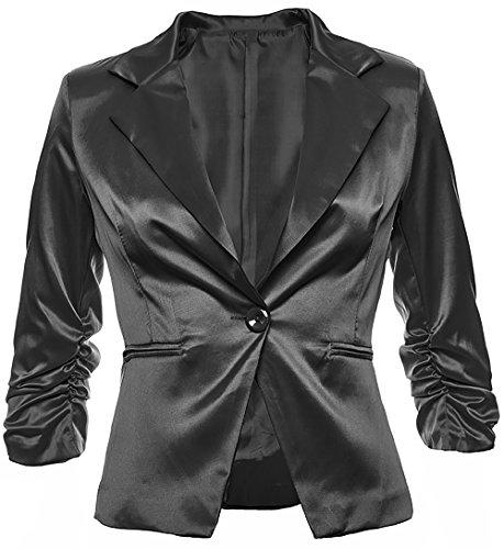 Sambosa Sambosa Eleganter Damenblazer Blazer Baumwolle Jäckchen Business Freizeit Party Jacke in 26 Farben 34 36 38 40 42, Farbe:Schwarz Metallic;Größe:S-36