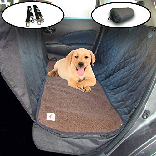 Ultimate Dog Seat Cover and Pet Hammock Features Dark Brown Washable Fleece Mat, Mesh Window and Metal Buckles - 5-Piece Set