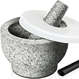 Tera Mortar and Pestle Set with Lid 2 Cup-Capacity, Include Silicone Lid, Garlic...