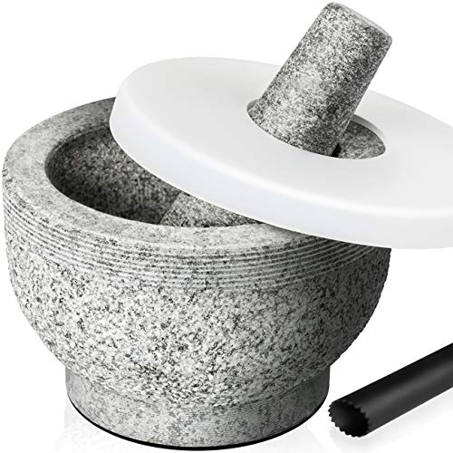 Tera Mortar and Pestle Set 2 Cup-Capacity, Include Silicone Lid, Silicone Garlic Peeler, Stick-on Rubber Pads for Base, Unpolished Granite Mortar and Pestle Spice Grinder, 5.5 Inch