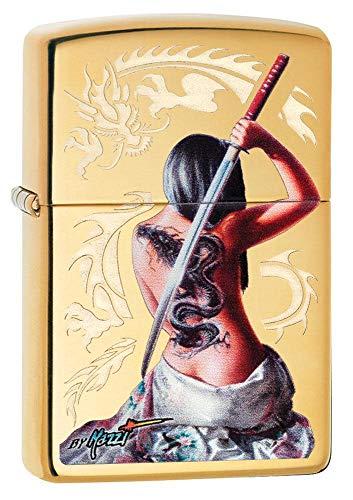 Zippo MAZZI Dragon Tattoo, Accendino Antivento Unisex-Adulto, Ottone Lucido, Standard