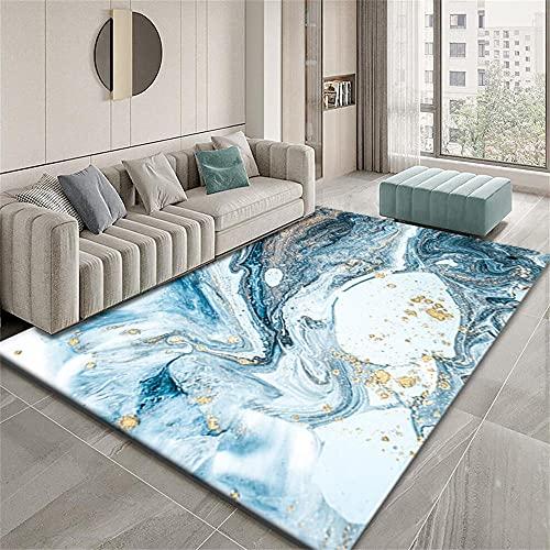 Alfombra Exterior Grande Alfombra Habitación Matrimonio Diseño gráfico Abstracto del patrón del océano Azul Dorado Alfombras De Vinilo Modernas 160X230cm