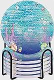 CIKYOWAY Posavasos para Bebidas,Fondo de Escamas de Peces Conchas Marinas Coral bajo el mar Acuario Océano Juego de 6 Posavasos absorbentes con Soporte de Metal/Fondo de Corcho 4 Inches