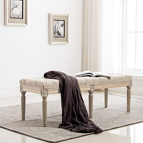chairus Fabric Upholstered Entryway Ottoman Bench - Classic Bedroom Bench with Rustic Wood Legs - Beige