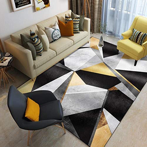 Tapis de Sol Triangle géométrique Noir Jaune 160X230CMTapis Shaggy Design Moderne pour Home Decor,Chambre à Coucher, Salon,Lavable