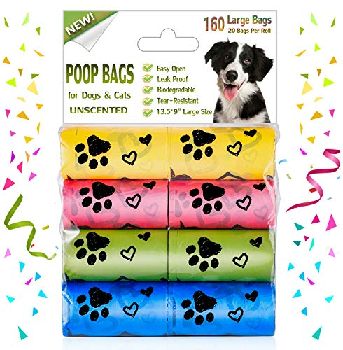 Yingdelai Dog Poop Bags: 160 Counts Biodegradable Large Doggy Waste Bags Unscented Refill Rolls