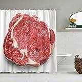 Aliciga Cortina de Ducha,Carne Roja Filete De Carne Cruda Fresca Vista Superior Entrecot,Tejido de poliéster - con Gancho,180x180