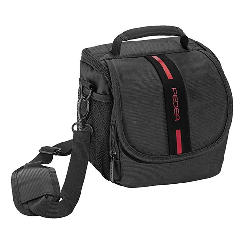 PEDEA SLR Kameratasche für Canon EOS 7D, 50D, 70D, 5D Mark III, 450D 100D, 1000D, EOS M3 / Nikon D5500 / Pentax K-1 / Sony Alpha 6000 (Größe M) schwarz/rot mit Displayschutzfolie