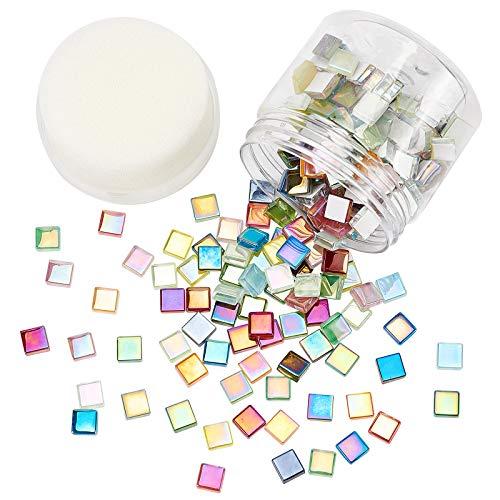 PandaHall Azulejos de mosaico facetados de colores cuadrados para manualidades, 200 piezas de mosaico de cristal para marcos de fotos, platos, macetas, jarrones, tazas para hacer mosaicos