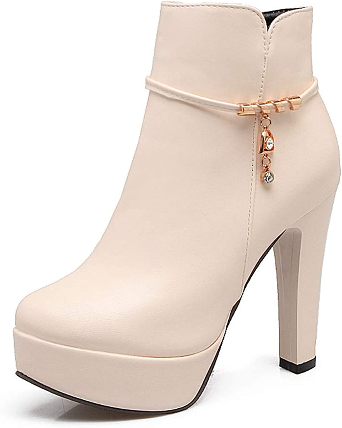 Zarbrina Womens Chunky Block Heel Platform Ankle Boots Ladies Fashion Sexy Round Toe Rubber Sole Zipper Up Slip On Party Dress shoes Beige