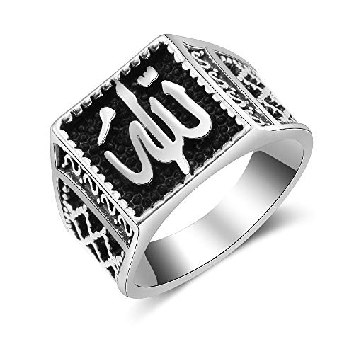 Chandler Anillo para hombre religioso islam musulmán Alá Dios para hombre, estilo vintage, oxidado, tono plateado árabe
