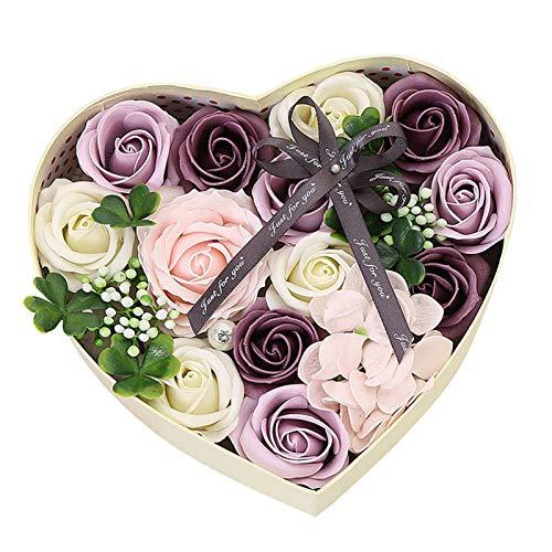 Caja de regalo de flores falsas, jabón artificial, rosa preservada para siempre para el día de la madre, día de San Valentín, día del maestro, boda