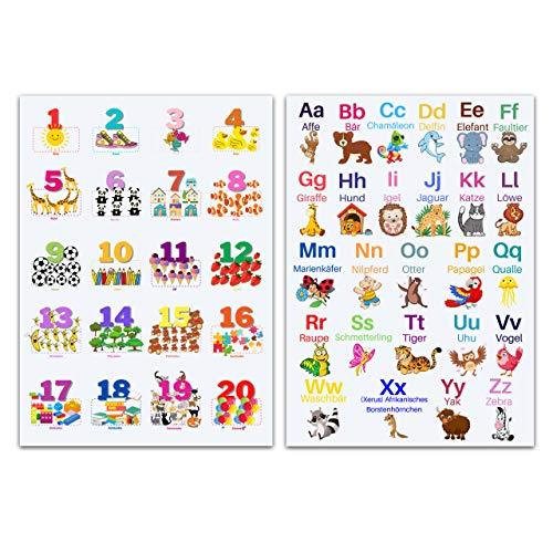 CLEAN SPORTS® Alphabet und Zahlen DinA1 Lernposter für Kinder - ABC und Zahlen von 1 bis 20 lernen mit zwei großen 54cm x 89cm Poster für´s Kinderzimmer - Kinderposter Tiere lernen