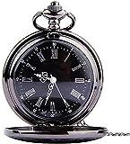 Reloj de bolsillo Suministros para relojes - 1 reloj de bolsillo redondo, clásico, retro, con doble pantalla, números árabes romanos, reloj con esfera, reloj de bolsillo con tapa, Steampunk (cadena ne