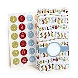 Adventskalender zum Befüllen Nicholas Surprise 24 beschichtete Papiertüten Geschenktüten...