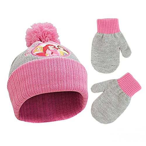 Disney Winter Hat, Kids Gloves or Toddlers, Princess Baby Beanie for Boy GirlAges 4-7, Grey/Pink, Mittens-Age 2-4
