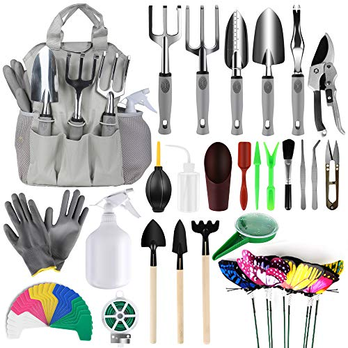 MasBekTe 57 Pcs Garden Tools Set Succulent Tools Set Heavy Duty Hand Tools Trowel Tote Bag Gloves Plant Labels Gardening Gifts Garden Tool Set for Women
