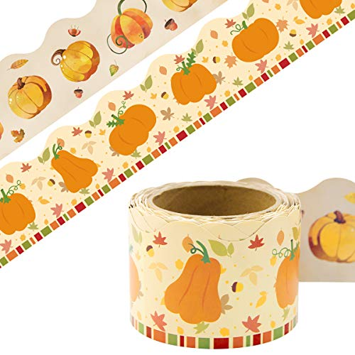 Fall Bulletin Board Border Thanksgiving Pumpkin Straight Trim Two Sided Printed for Thanksgiving Harvest Classroom Party Decoration 36ft One Roll