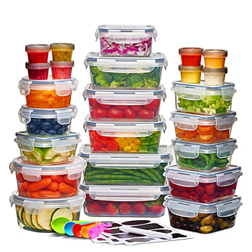 24 Pack Airtight Food Storage Container Set - BPA Free Clear Plastic Kitchen and Pantry Organization Meal Prep Lunch Container with Durable Leak Proof Lids - Labels, Marker & Spoon Set