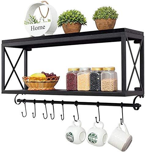 WYBD.Y Regale American Retro Schmiedeeisen Holz Küchenregale Wandhalterung Badezimmerregal Wohnzimmer Kaffeetasse Regal