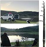Caña de pescar de carpa Caña de spinning telescópica de fibra de carbono 3.25 lb de potencia 80-200g Poste duro de 11 '12', carrete de pesca de material de nylon, abrazadera de acero inoxidable,3.3m