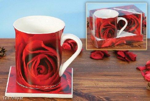 Becher Rote Rose mit Kachel Porzellan in Geschenkbox