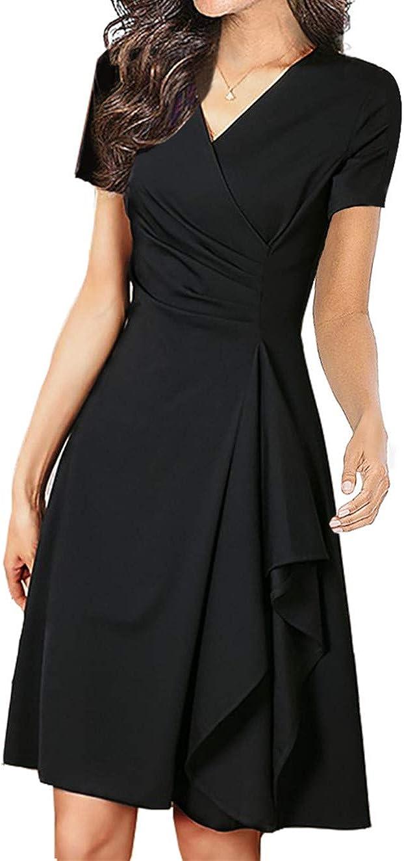 Women's Vintage V-Neck Short Sleeve Special 4 years warranty price Hem Ruffle Dress A-line Slim