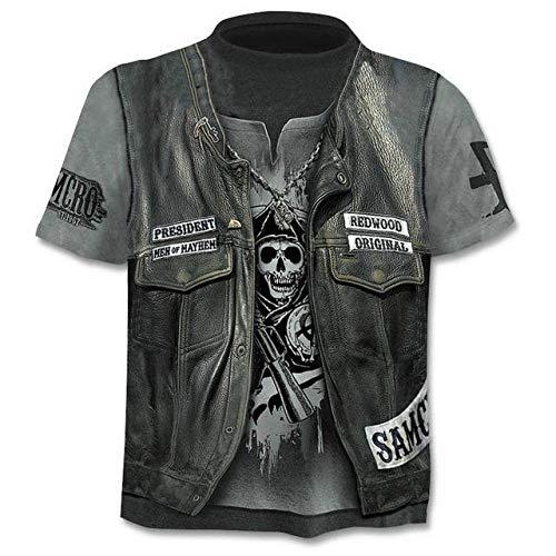 T-Shirt Kurzarm Herren Schädel T-Shirts Männer Punk-Stil Hemden 3D Finger Skelett T-Shirts 3D-Druck Hip Hop Tops-0643_3XL