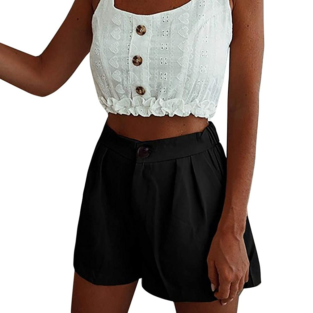 Kiminana Women's Solid Color high Waist Button Pocket Casual Shorts