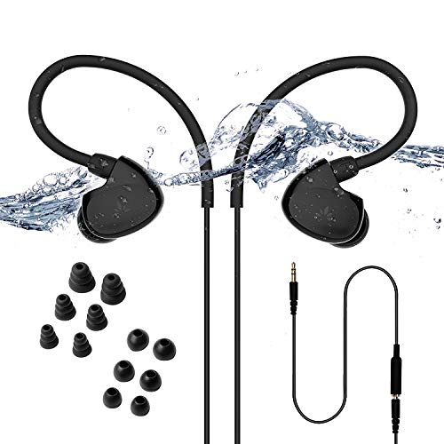 Avantree Secure Fit Underwater Waterproof Earbuds for Swimming, Wired Sports Headphones for Gym Running Diving Surfing, IPX7, Short Cord with Over The Ear Hook and 6 Pair Soft Earphones Tips - TR509