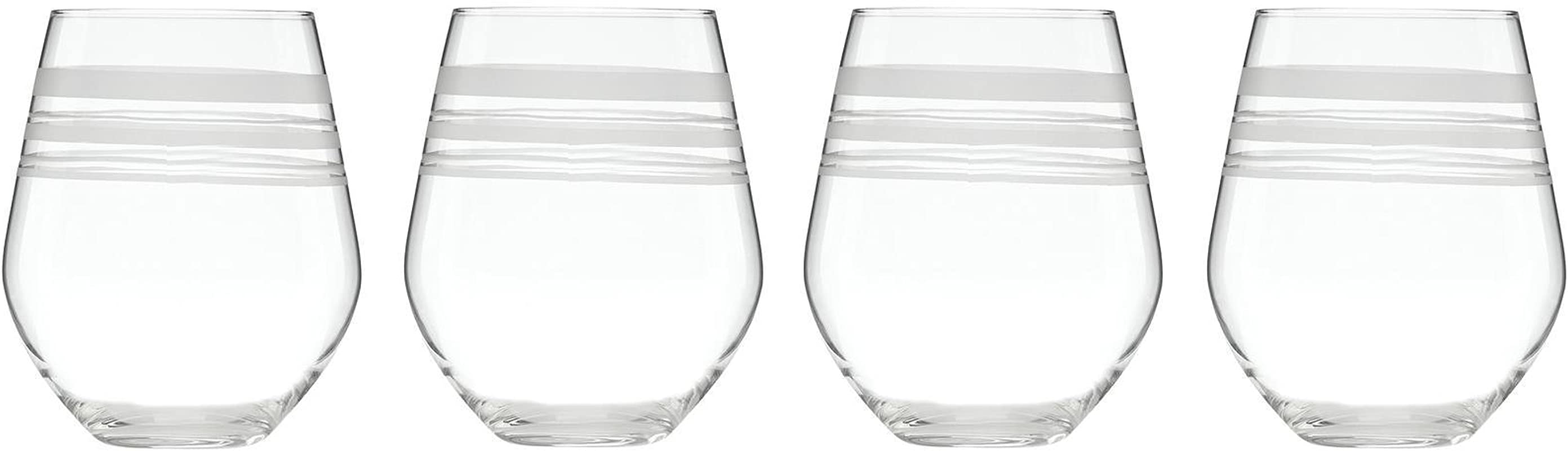 Kate Spade New York Library Stripe Stemless White 4 Ct