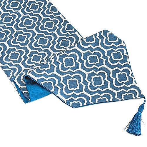 Cuasting Camino de mesa azul jacquard de 172 cm con borlas para decoración del hogar, fiesta, boda