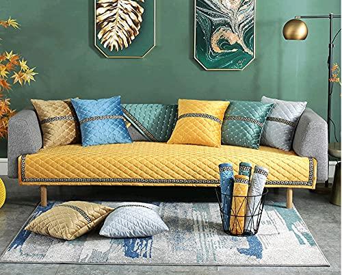 Fundas de Protector de Muebles,Funda de sofá de Sala de Estar de Invierno Funda de sofá de Felpa, cojín de sofá Toalla de Cuatro Estaciones en Forma de L Amarillo 28 * 35 Inch
