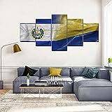 GHYTR Leinwanddrucke Kreatives Geschenk 5 Stück Leinwand Bilder Hd Gedruckt Poster Abstrakt Gerahmter Flagge Von EL Salvador Und Kolumbien Moderne Wandbilder XXL Wohnzimmer Wohnkultur