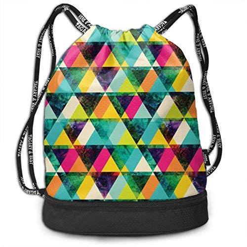 DJNGN Acquerello Triangles Pattern Zaino multifunzionale con coulisse Zaino Bundle Backpack Fashion