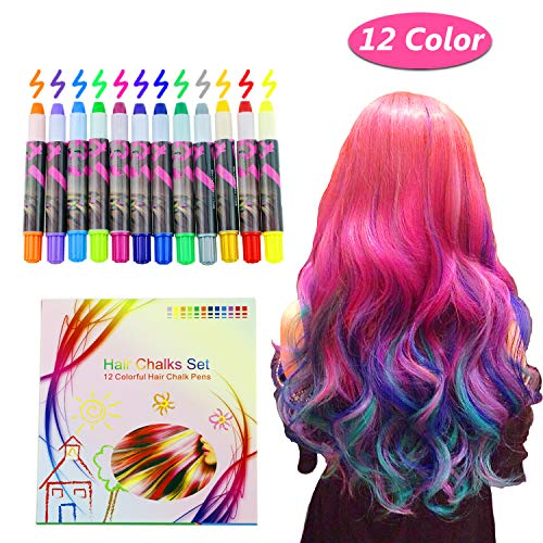 Vimpro Hair Chalk, 12 Color Temporary Hair Chalk Hair Dye Pen Temporary Hair Color Temporary Non-Toxic Washable Hair Coloring Chalk for Girls, Party, Cosplay, Halloween Present