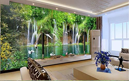 Paisaje Cascada TV Fondo Tela de Pared Sala Comedor Papel Tapiz Papel Pintado Sofá Chino Mural Pintura de Pared 3D -350 * 256 cm (137.8_x_100.8_pulgadas)