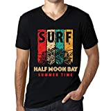 Hombre Camiseta Vintage Cuello V T-Shirt Gráfico Surf Summer Time Half Moon Bay Negro Profundo