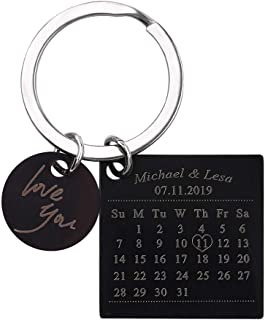 Personalized Special Date Calendar Keychain - Customized Stainless Steel Key Chain with Date and Name Carving, Creative Gifts for Lover (Black-2)