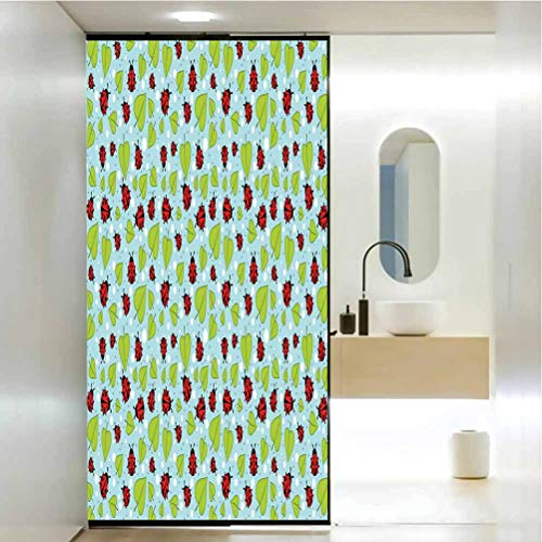 Window Film Stained Glass Stickers, Ladybugs Polka Dots Pattern with Leaves and Beetles Summer Season Inspired Nature Cartoon, Static Glass Film for Bathroom Office Meeting Room Living Room 23.6x47