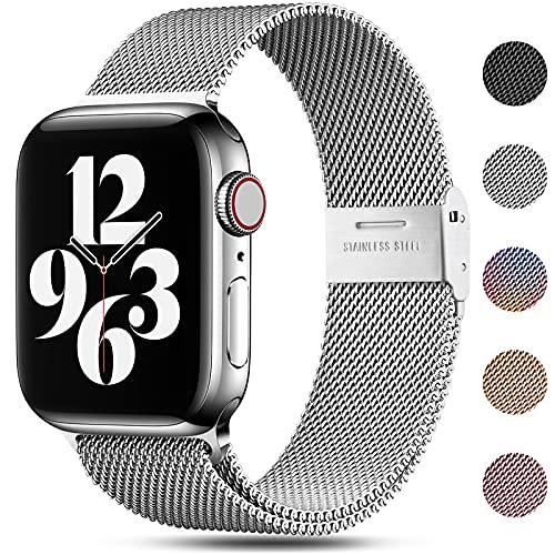 Funbiz Ersatz Armband Kompatibel mit Apple Watch Armband 38mm 40mm 41mm, Edelstahl Metall Armband mit Verstellbarer Schnalle für iWatch Armband Series 7/6/SE/5/4/3/2/1, 38mm/40mm/41mm, Silber