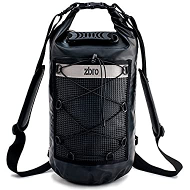ZBRO Waterproof Dry Bag with 2 Pockets, Padded Straps and Reflective Stripe (Matte Black, 30L)