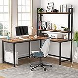 Tribesigns Computertisch, L-förmiger Schreibtisch, Schreibtisch-Arbeitsplatz, industrieller Eck-Schreibtisch mit 2 Ebenen Bücherregal für Heimbüro, Schreiben, platzsparend, einfache Montage